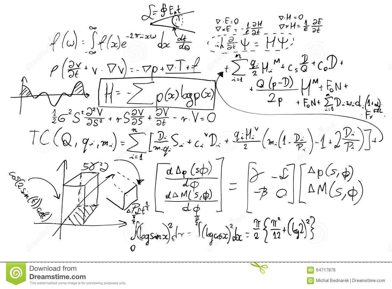 Complex Math Formulas Whiteboard Mathematics Science Economics