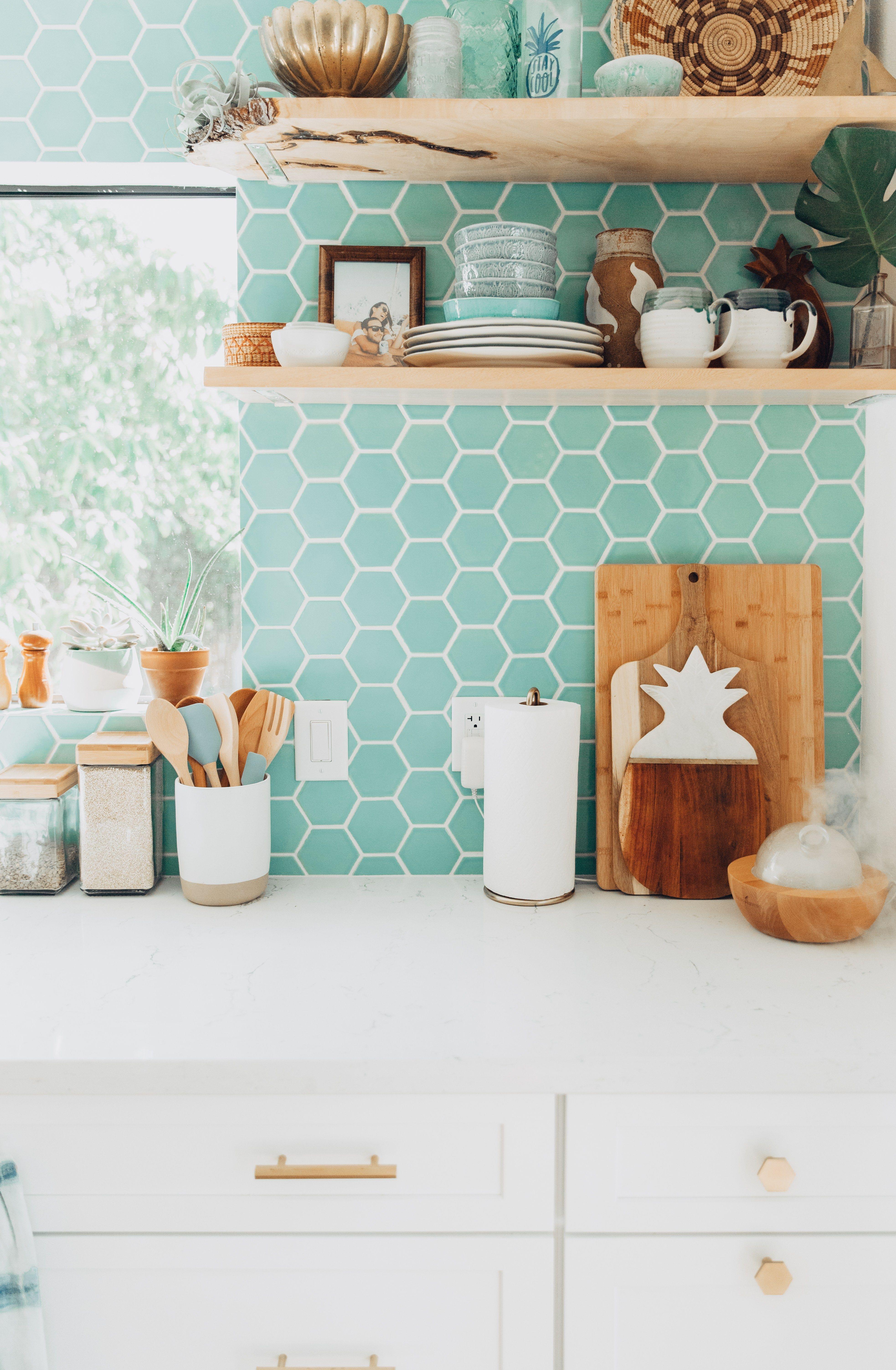 Our Kitchen Renovation Reveal Tropical Modern Bohemian Green Kitchen Backsplash Kitchen Remodeling Projects Bold Kitchen