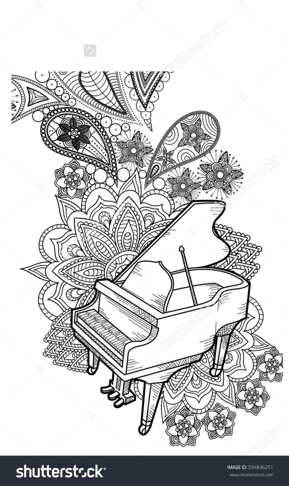 Piano Doodle Art Vector Kritzeln Kunst Mandala Malvorlagen Malvorlagen Gratis