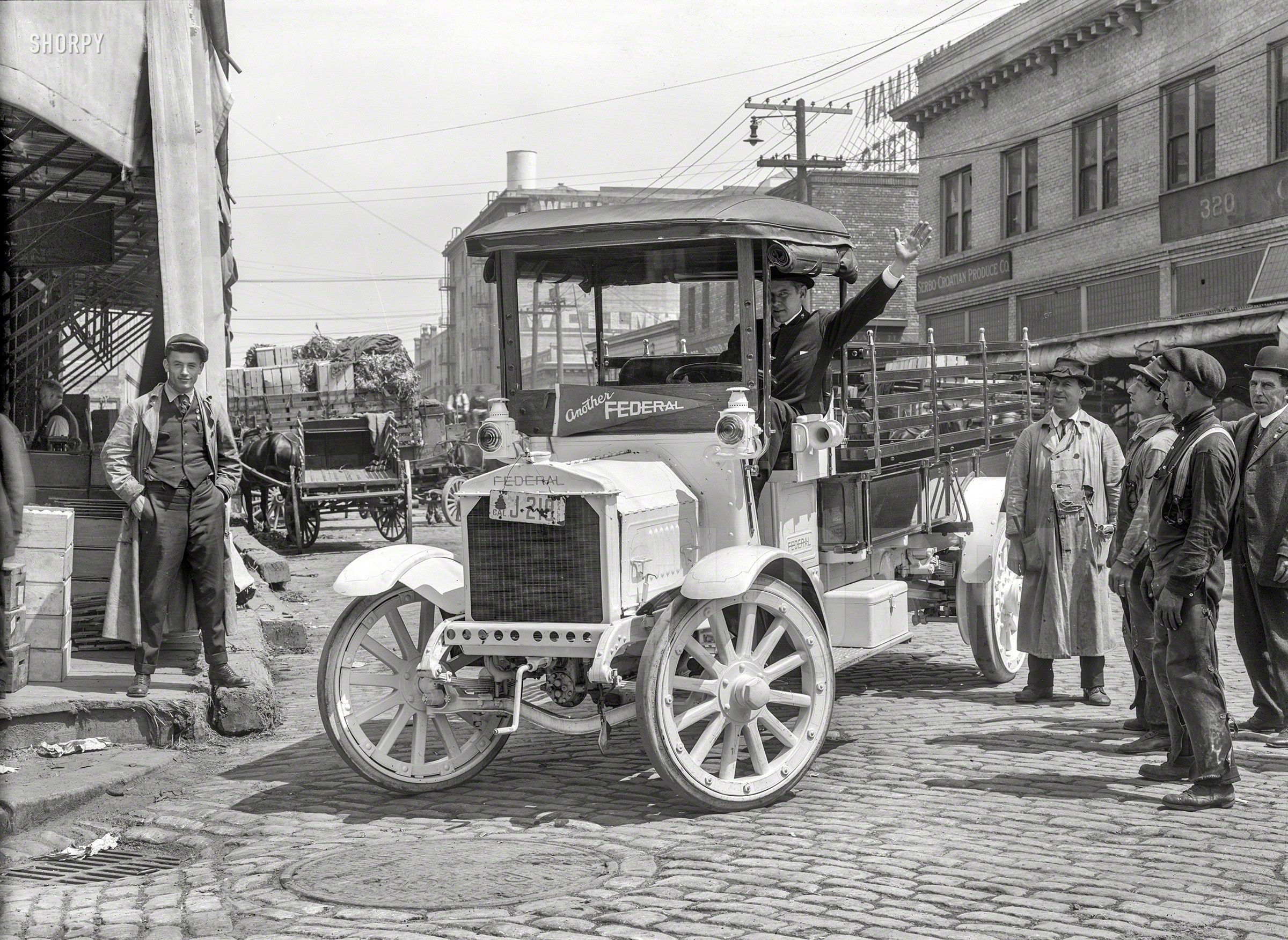 """Federal truck 1918."""" Outside the premises of the Serbo"""