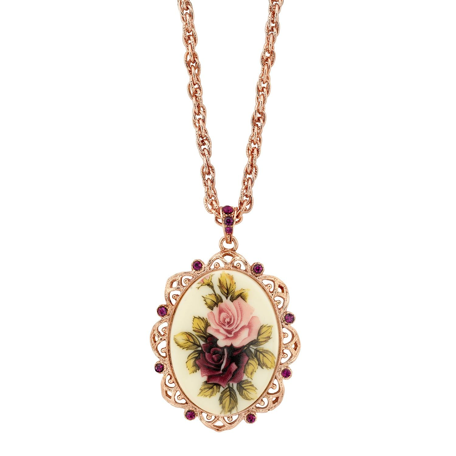 1928 Flower Simulated Crystal Oval Pendant Necklace
