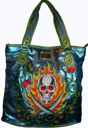 Ed Hardy Purse Tote Handbag Blue Arielle  5b4157766e4ab