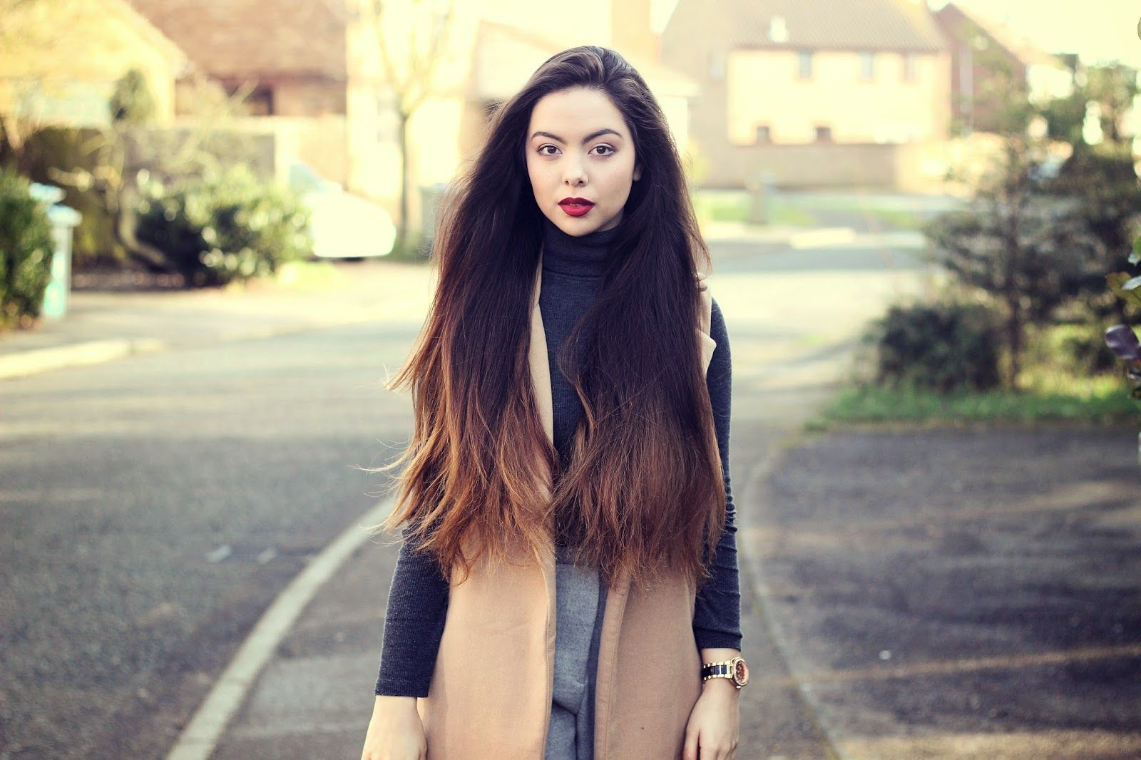 Misguided Jacket, New Look Top, Asos Trousers and River Island Watch on artstylelove.com #fbloggers #longhair #hair #brunette #ombre #ootd #outfit #inspo #fashion