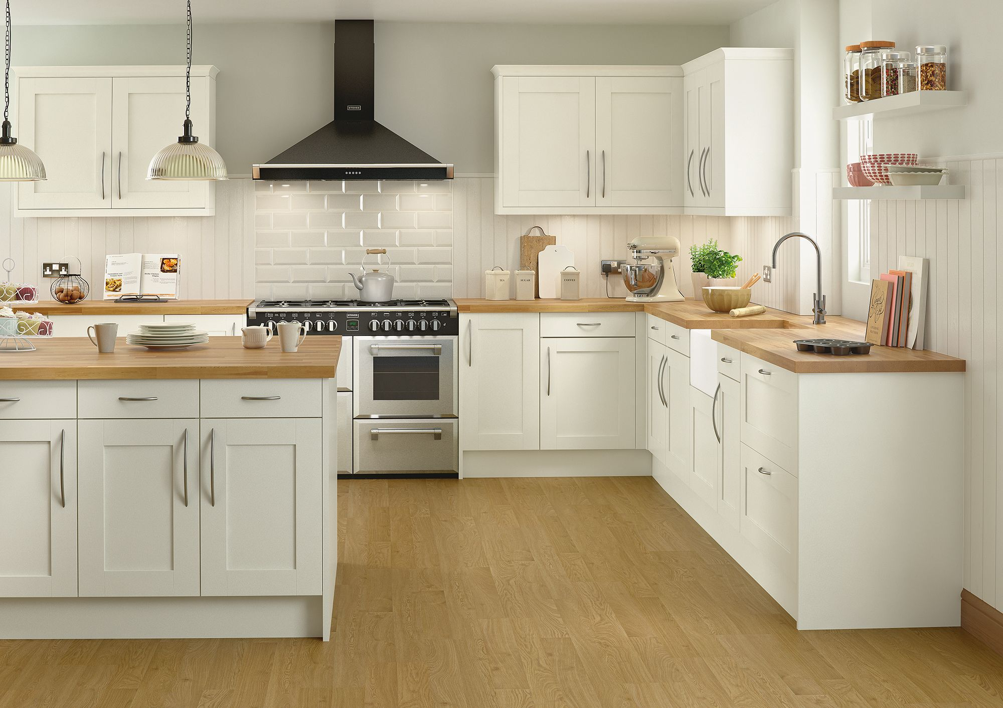 A modern, classic kitchen with a touch of French