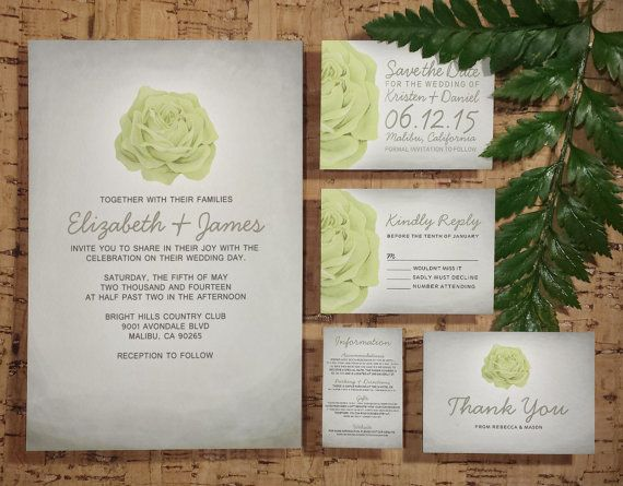 Trendy Floral Ivory Wedding Invitation SetSuite Invites Save
