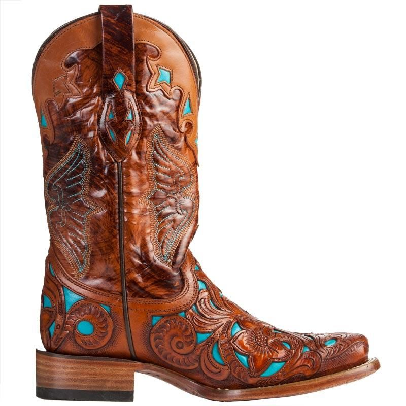 e799c0cb14f Women's Corral Dark Chedron Teal Handtooled Cowgirl Boots | Western ...