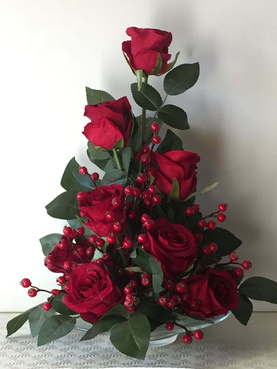 Tall deep red silk rose and berries flower arrangement  Valentine\u002639;s Mother\u002639;s Day gift by
