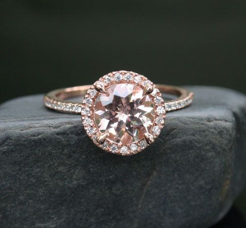 Morganite Engagement Ring Diamond Wedding Ring Set in 14k Rose Gold, 9x6mm  Pink Peach Morganite and Half Diamond Eternity Band
