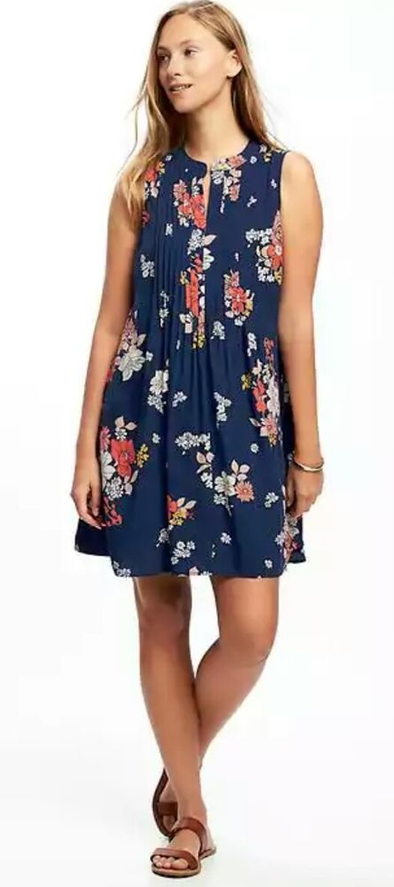 81eade427684e Old Navy sz M tall ~ navy floral print pintuck swing dress - NWOT ...