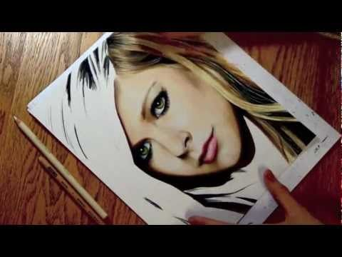 Drawing avril lavigne colored pencil time lapse sketch by heather rooney on youtube
