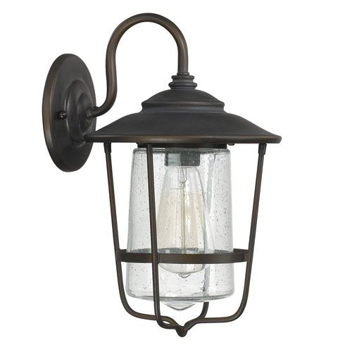 Creekside old bronze one light outdoor wall lantern with seeded glass capital
