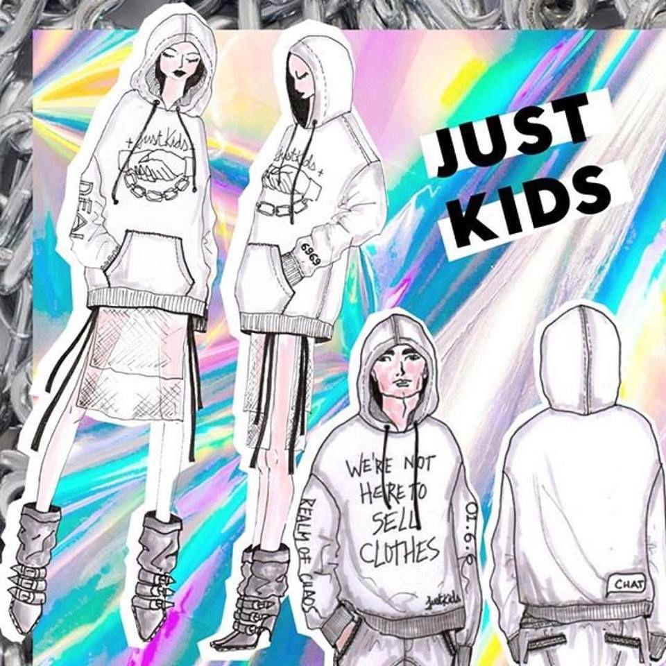Croquis da marca Just Kids - SP - idealizada pelas designers Karen Fuke e Juliana Jabour com linguagem 80's/90's/underground usando moletons como peça - chave.