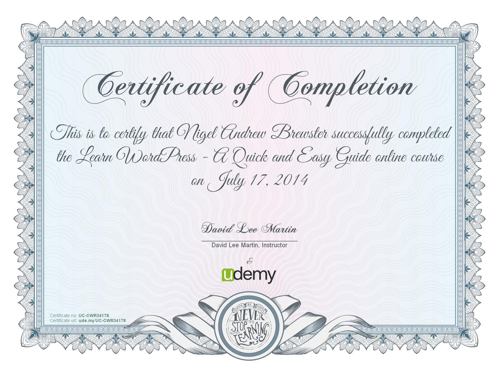 Wordpress Certificate Of Completion Certificate Of Completion Template Certificate Templates