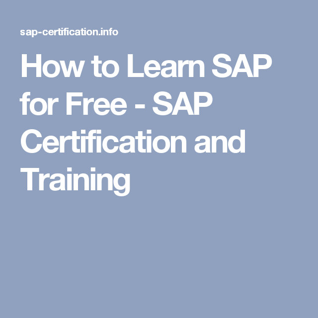 How To Learn Sap For Free Sap Certification And Training Sap