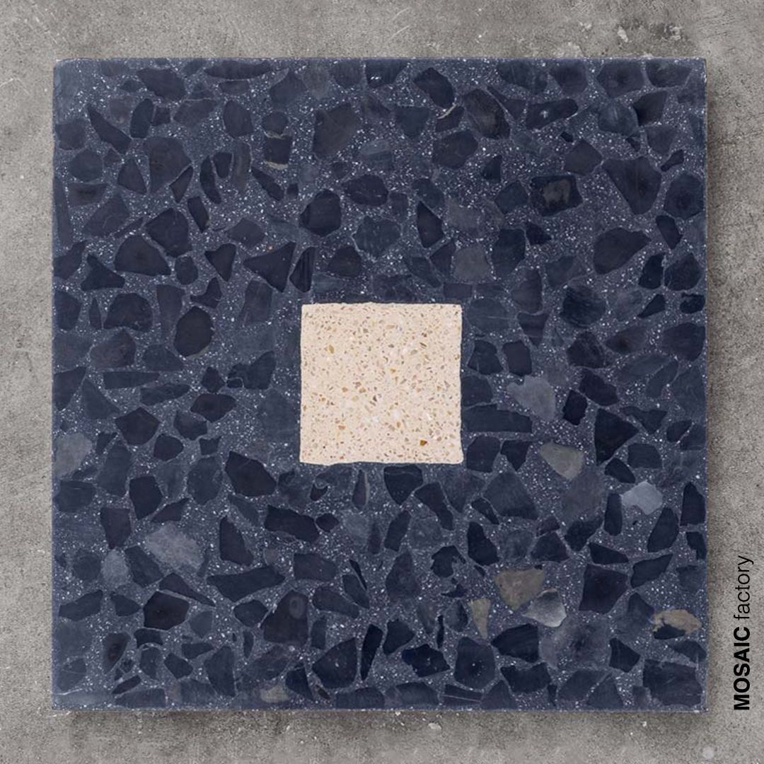 Black Terrazzo Tile With Salmon Middle Square From Mosaic