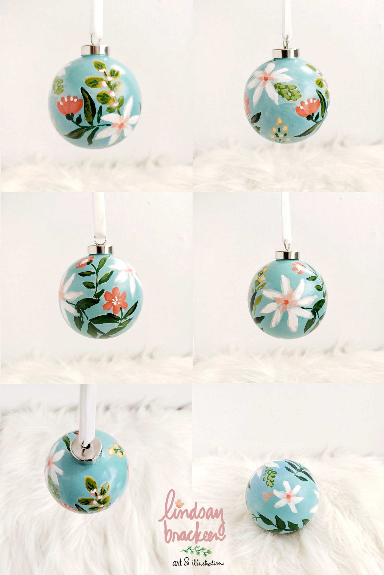 Hand Painted Turquoise Aqua Floral Watercolor Ornament By Lindsay Brackeen Diy Christmas Baubles Anthropologie Christmas Decor White Christmas Ornaments