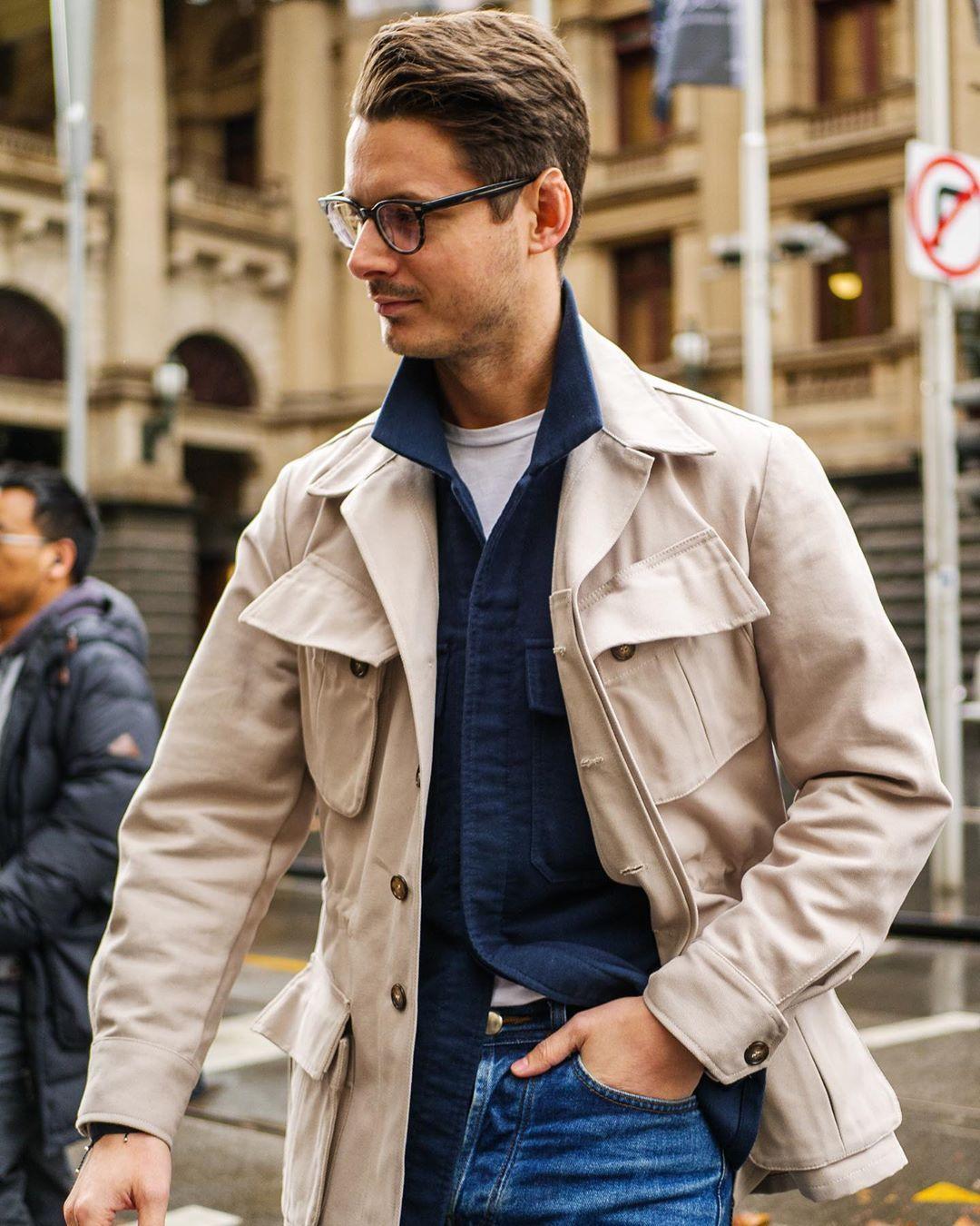 Sartorial Casualwear On Instagram Contrasting Layers Sartorial Casual Wear Safari Jacket [ 1350 x 1080 Pixel ]