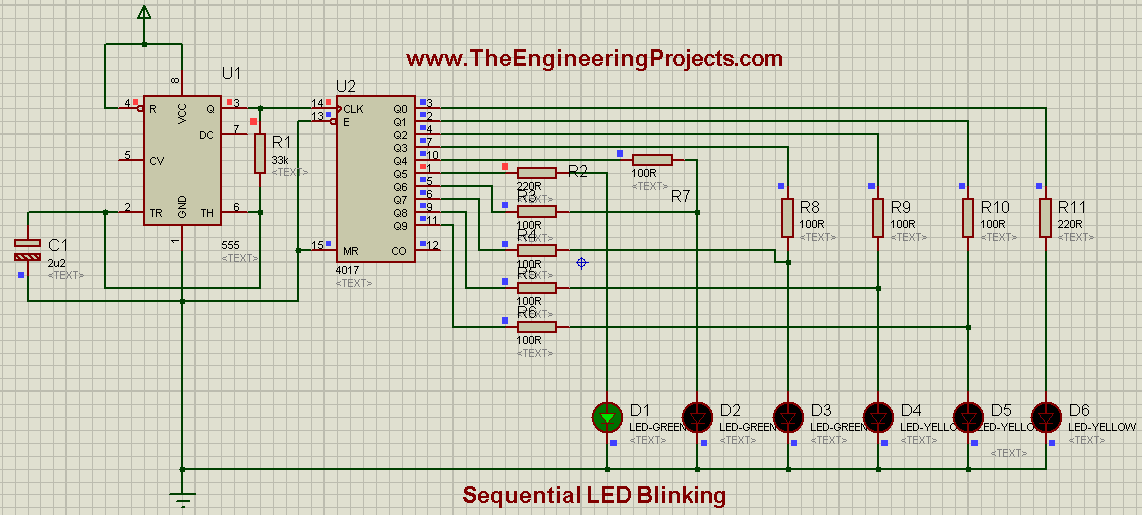 LED blinking projects, Sequence blinking of LEDs, Sequence blinking