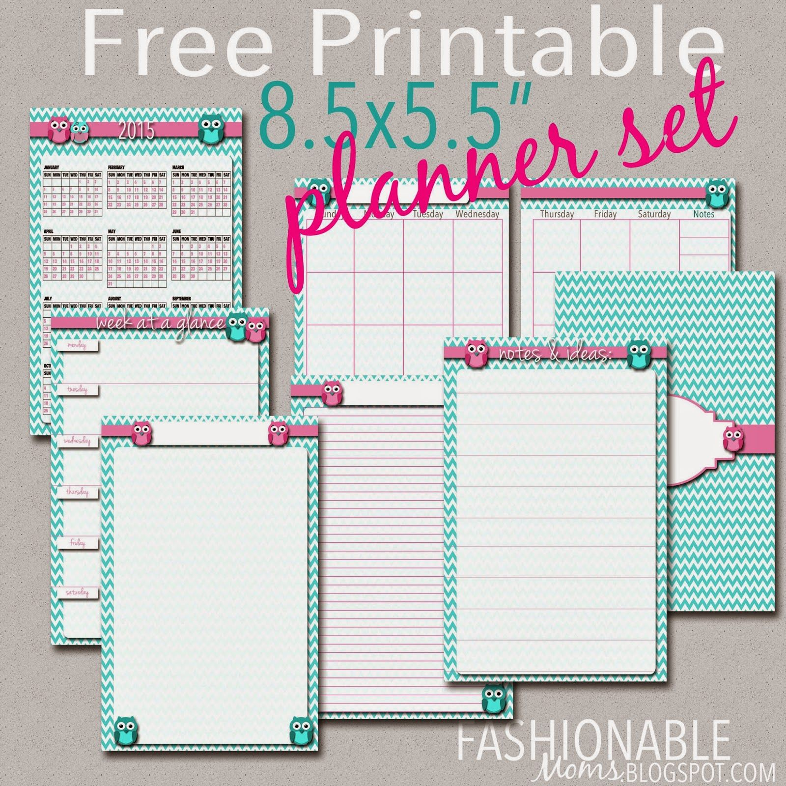 Free printable half page owl planner set updated for 2017 for Make a planner free
