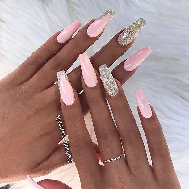 Repost Pastel Pink And Glitter On Long Coffin Nails Picture And Nail Design By