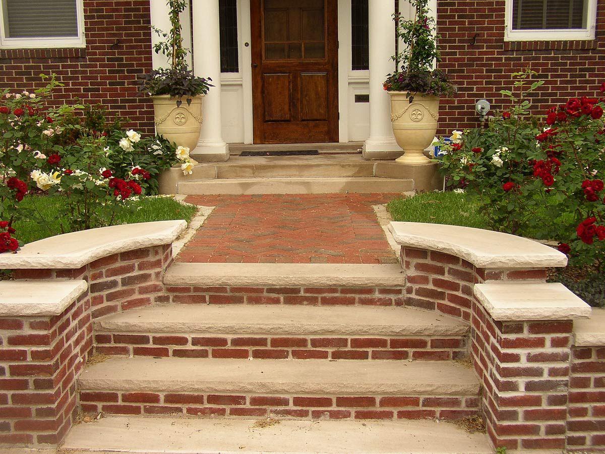 brick stone & masonry steps   Brick steps, Porch design ...