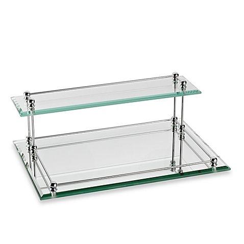 Taymor Glass Two Tier Valet Tray Glass Shelves Kitchen Vanity Room Decor Simple Bathroom Decor
