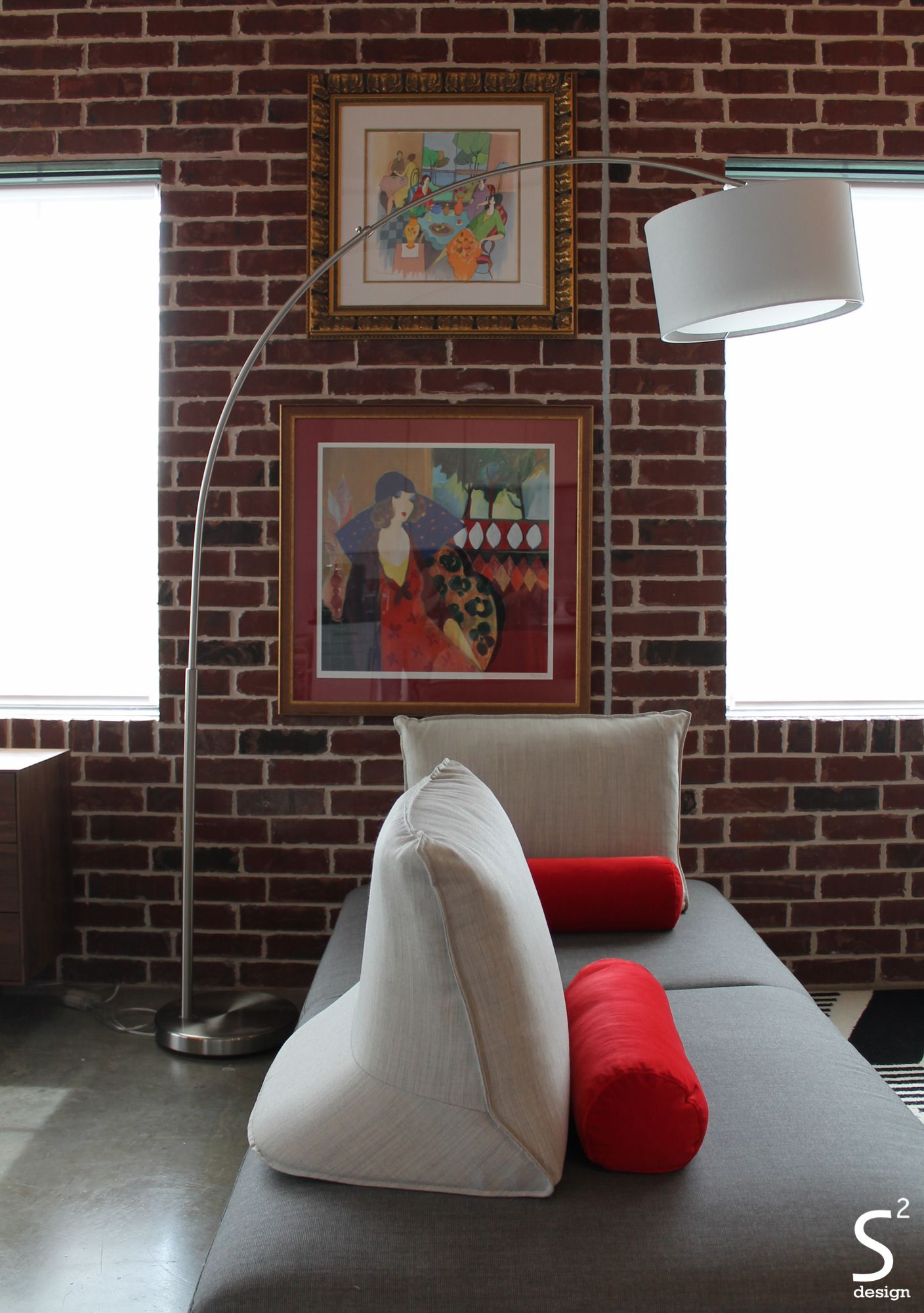 Loft modern living room exposed brick wall black white red