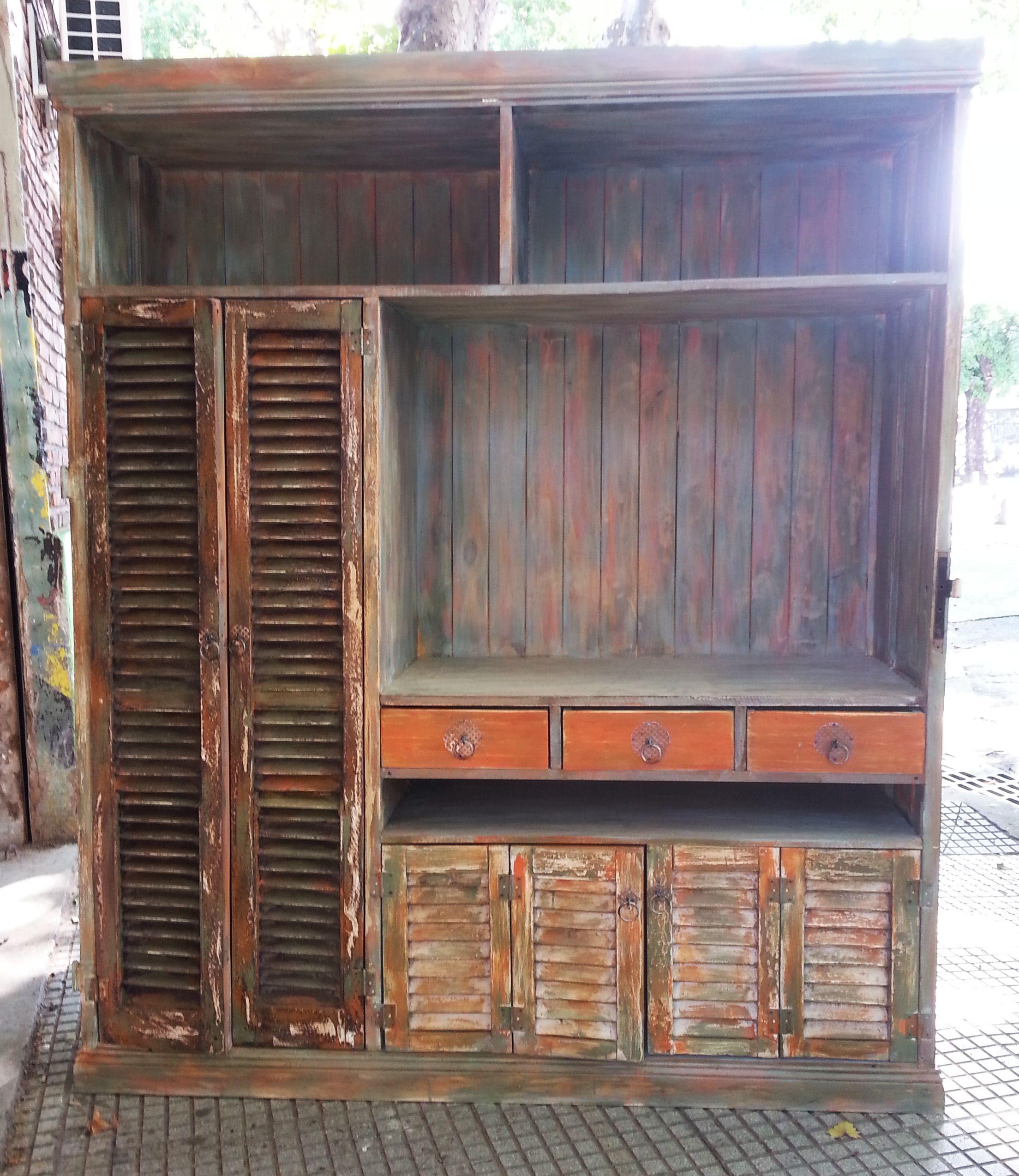 Muebles con alzada muebles rusticos madera reciclada ropero muebles casa pinterest - Muebles de madera rusticos ...