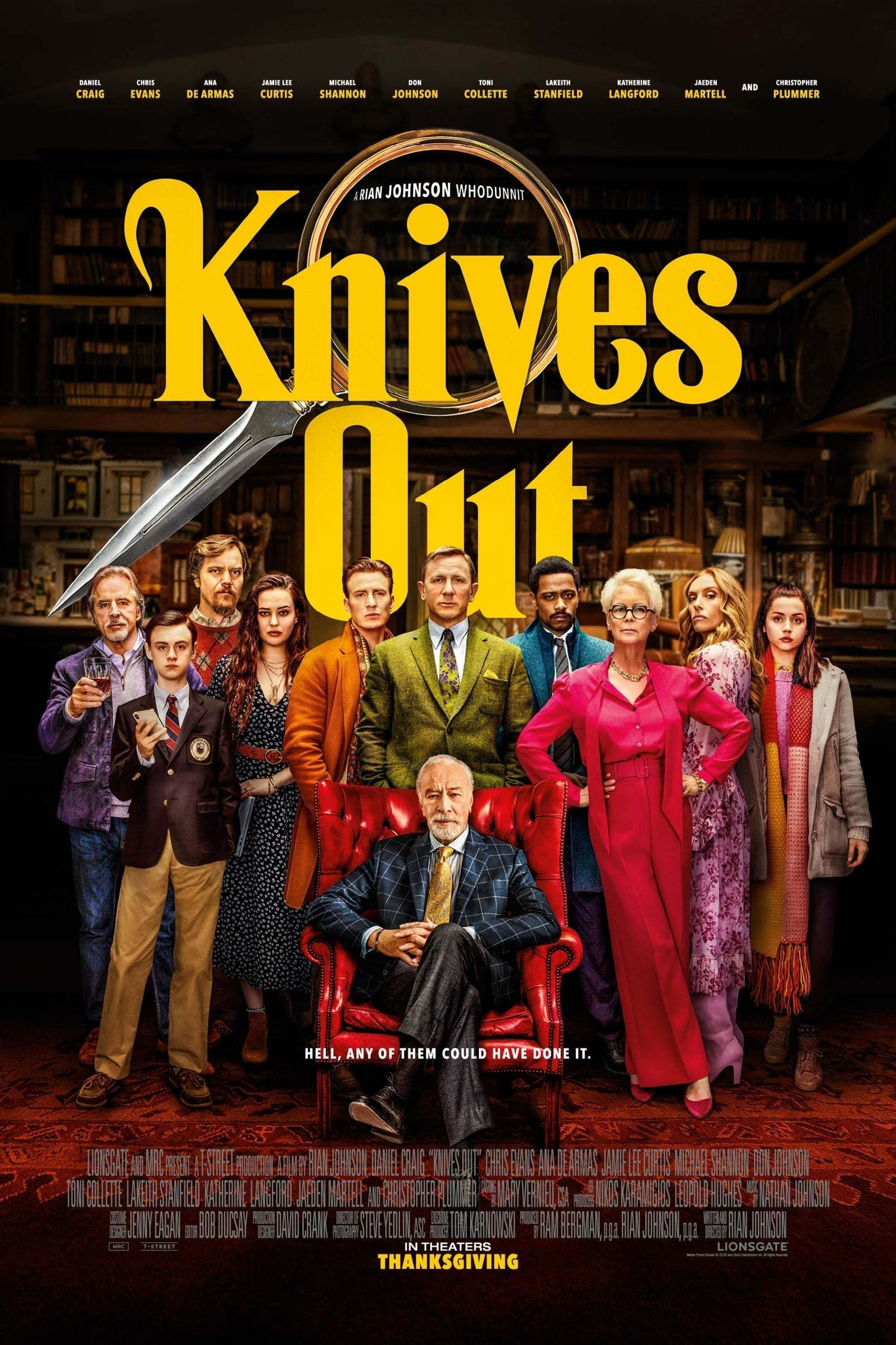 """Condition: Very Good to Excellent. Never folded! Free shipping within the UK. A low flat rate for the rest of the world. Size: 69 cm x 102 cm (27 in x 40 in) A guaranteed original advance one sheet movie poster for Rian Johnson's superb 2019 'whodunnit' """"Knives Out"""", starring Daniel Craig as detective 'Benoit Blanc'. Johnson and Craig have succeeded in creating a new sleuth in the mould of Agatha Christie's timeless Poirot and Marple. Alongside Craig is an all-star cast including Chris Evans. Ja"""