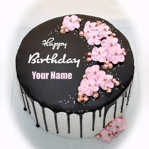 Write Name On Beautiful Floral Chocolate Birthday Cake Elegant