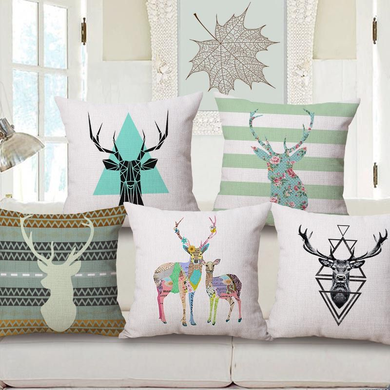 Colorful Elk Head Pattern Decorative Pillowcase Contracted Cotton Pillow Covers Fashion Deer Head Livingroom Creative Pillows Decorative Cushion Covers Pillows #pillowcases #for #living #room