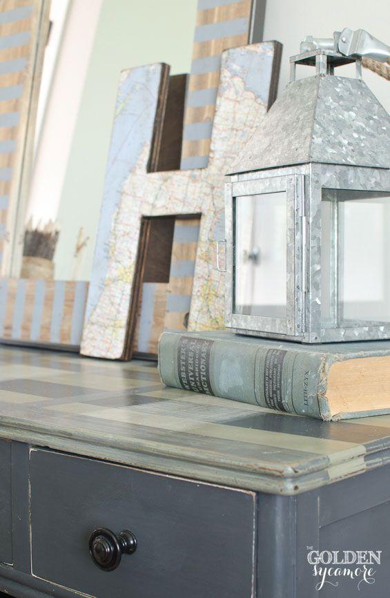 Plaid desk painted with Annie Sloan Chalk Paint® inspire