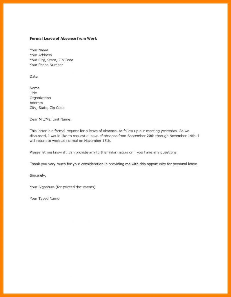 Letter Of Absence From Work from i.pinimg.com