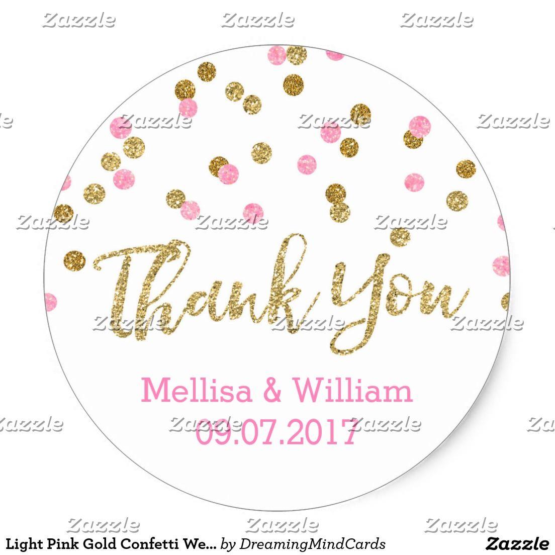 Light Pink Gold Confetti Wedding Favor Tags   Wedding favor tags ...