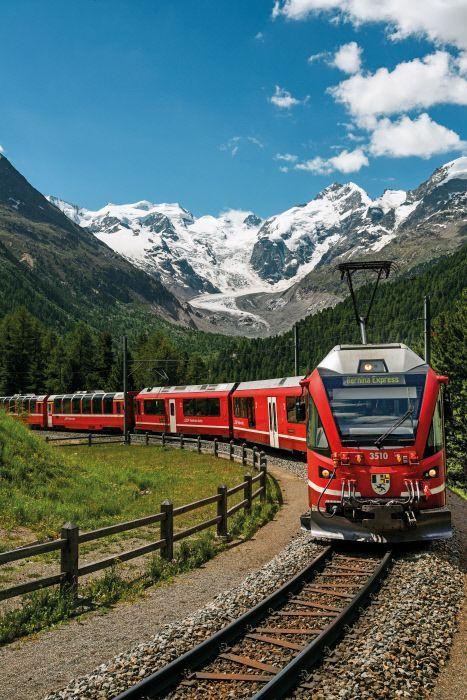 "Rhätische Bahn (RhB), ABe 8/12 3510 ""Alberto Giacometti"", Montebello Kurve oben Morteratsch (GR)"