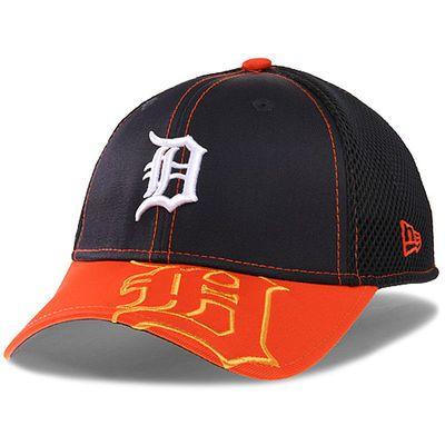 detroit tigers new era logo crop neo 39thirty flex hat navy orange
