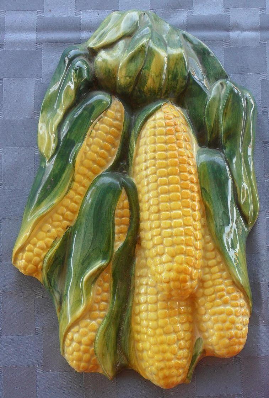 Cerámica de pared italiana con cinco mazorcas de maíz / Vintage ...
