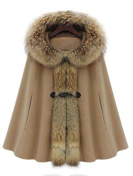 Camel Fur Hooded Buckle Ruffles Cape Coat - Sheinside.com ...