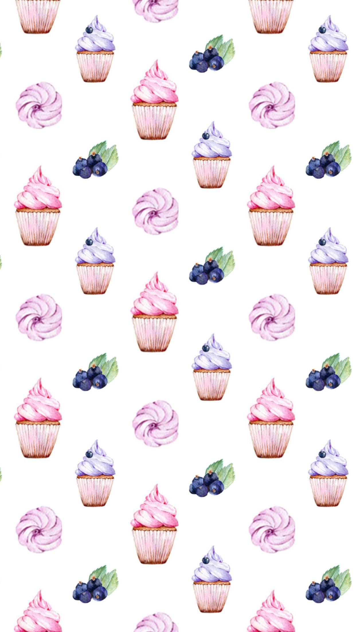 Cupcakes Blues Berry Prints Vintage Paper Wallpaper