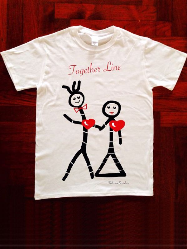 """T-SHIRT TOGETHER LINE FOR MAN AND WOMAN linea LOVE LINE BY FEDERICO BERTOLOTTI  LOVE LINE ️by Federico Bertolotti È una linea che ha come protagonisti i """"Lovvini"""": personaggi in linea con il cuore. I """"Lovvini"""" nella loro essenzialità ci indicano una via...come fossero linee di vita. 100% Cotton,Love,Cool & Quality PRINTED IN ITALY Size: S M L XL XXL Man and Woman"""