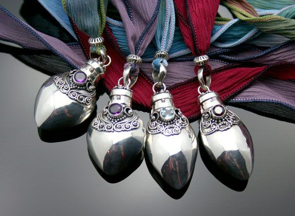 Silver aromatherapy jewelry necklaces and pendants from bali beautiful sterling silver aromatherapy pendants with elegant scroll work semi precious stones and pretty hand dyed silk ribbons aloadofball Images