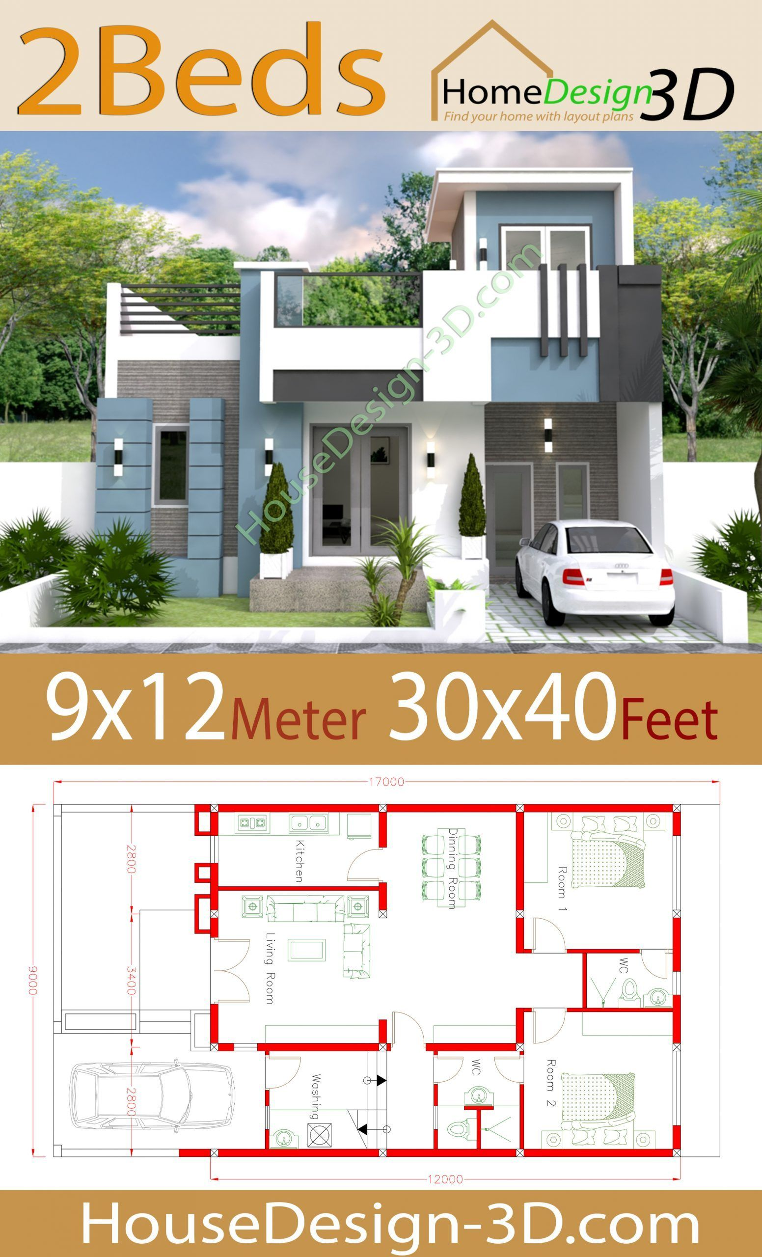 House Design 9x12 With 2 Bedrooms 30x40 Feet House Design 3d In 2020 House Design House Construction Plan Bungalow House Design