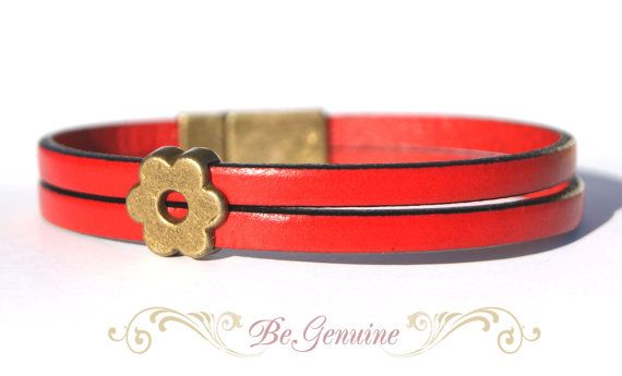 Hey, I found this really awesome Etsy listing at https://www.etsy.com/listing/107265252/red-gold-leather-bracelet-with-small