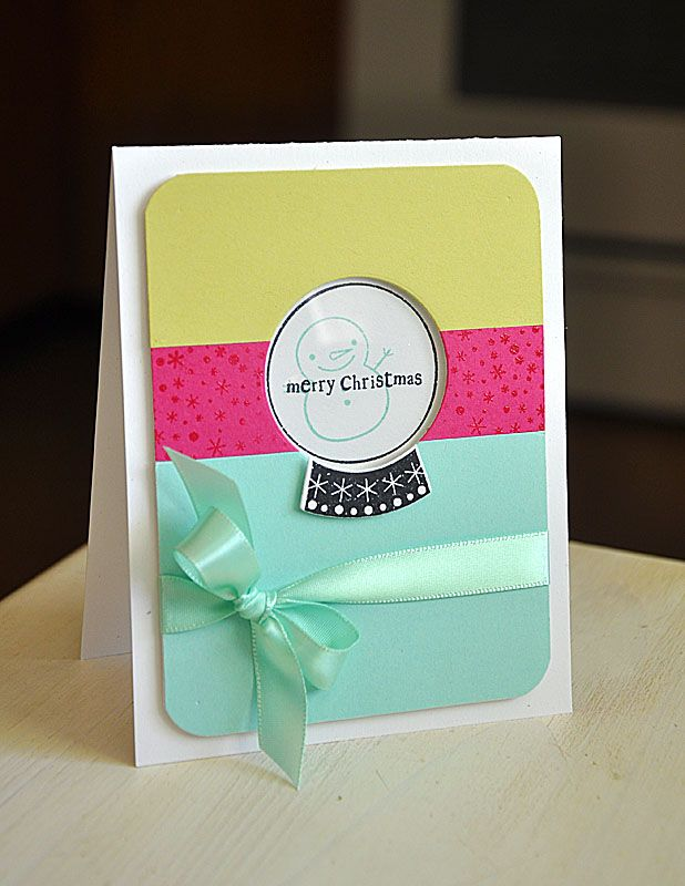 Color Blocked Snow Globe Card by Maile Belles for Papertrey Ink (September 2012)