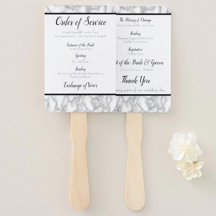 Marble Wedding Order Of Service Fan Customize These Postagestamps