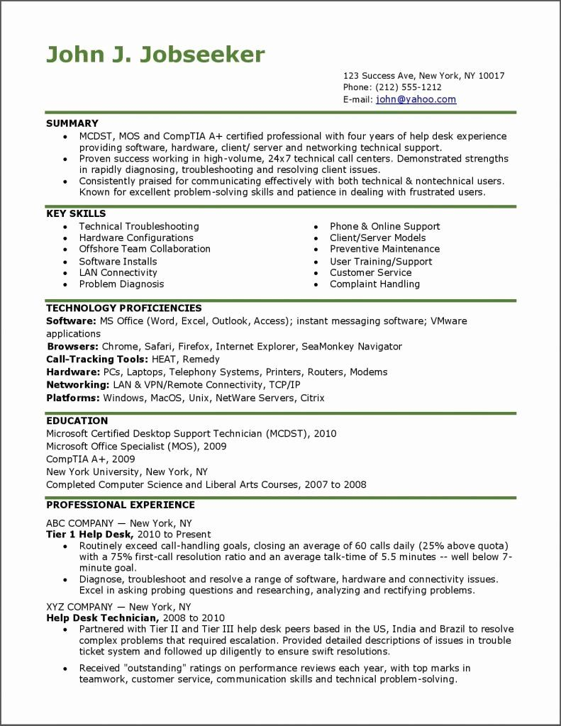 25 It Help Desk Resume Help desk, Resume examples