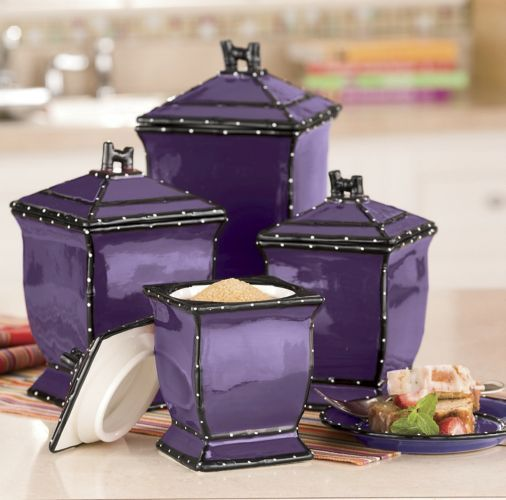 purple canister set kitchen ruffle 4 canister set from ginny s 174 purple 21385