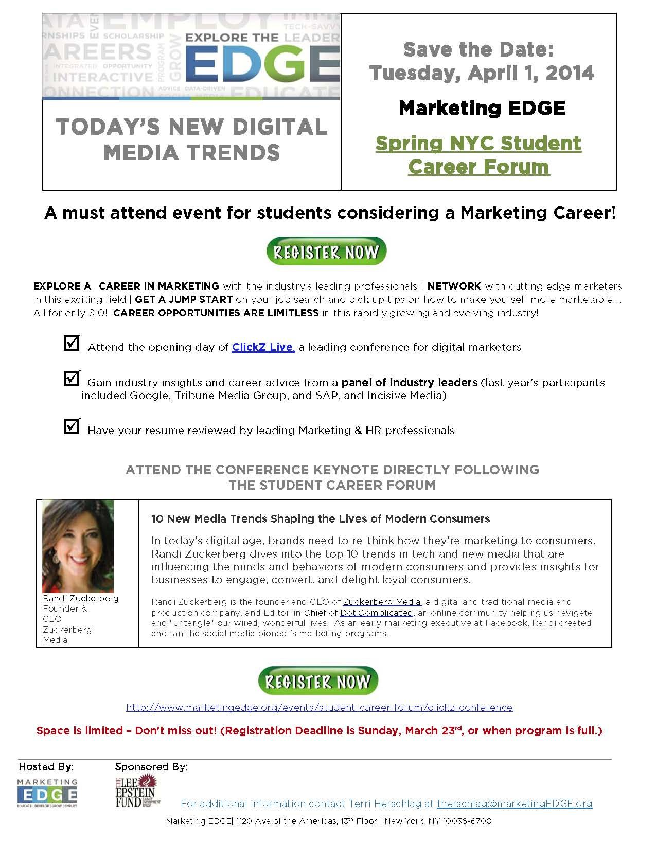 Are You Interested In A Digital Marketing Career? Attend The ClickZ Live  Conference On Tuesday
