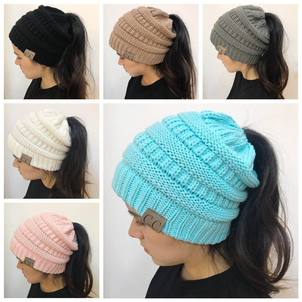 58f809da4f7a8 Women Stretch Knit Hat Bun Beanie Holey Warm Hats Ponytail Holder Winter  Caps  fashion  clothing  shoes  accessories  womensaccessories  hats (ebay  link)