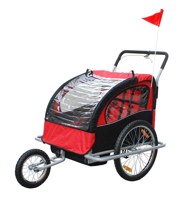 Aosom 2IN1 Double Baby Bike Trailer Jogger Stroller Red